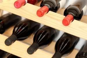 different wine bottles in a storage rack